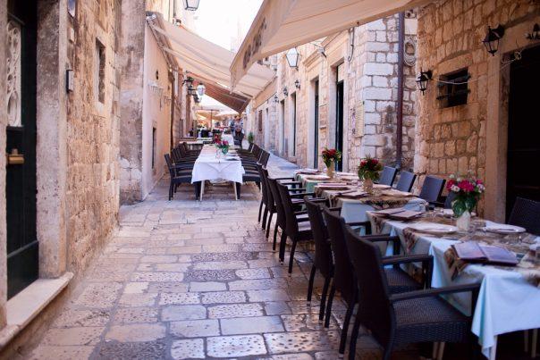 Croatia's Coast. Split city. Street restaurant