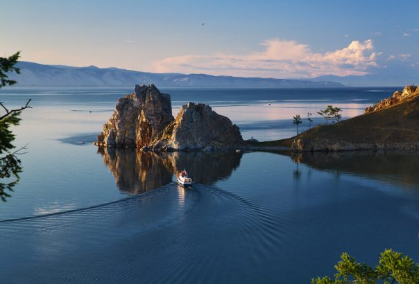 Lake Baikal. Siberia, Russia. Cape Burhan and Shaman Rock on Olkhon Island at Baikal Lake
