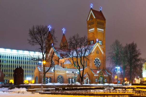 Belarus. Ancient Christian church at night in Minsk,, Belarus