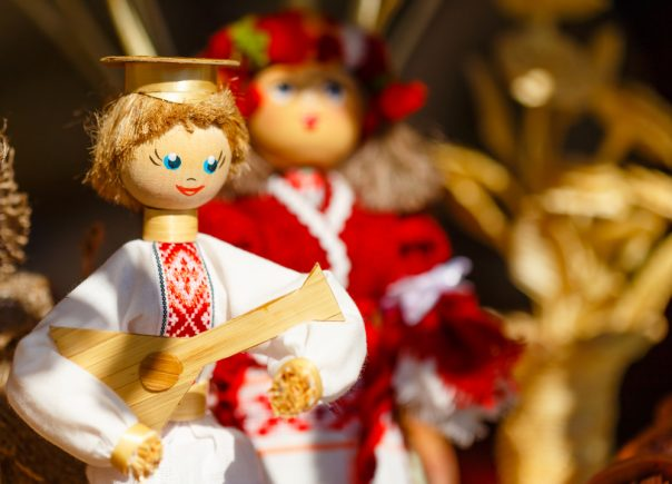 Belarus. Colorful Belarusian Straw Dolls At The Market. Straw Dolls Are The Most Popular Souvenirs From Belarus And Symbol Of Country's Culture