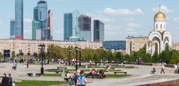 Victory Park in Moscow, Russia. Moscow, Russia - May 10, 2015: People walking in the park of Victory in Moscow. Victory Park and Poklonnaya Hill - a memorial complex of the Great Patriotic War of 1941-1945. west of Moscow
