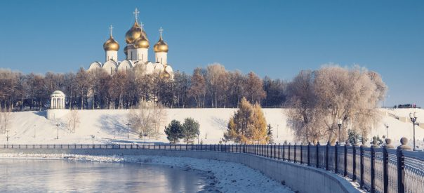 Golden Ring. Part 2. Assumption Cathedral in Yaroslavl winter on waterfront. Russian landmark