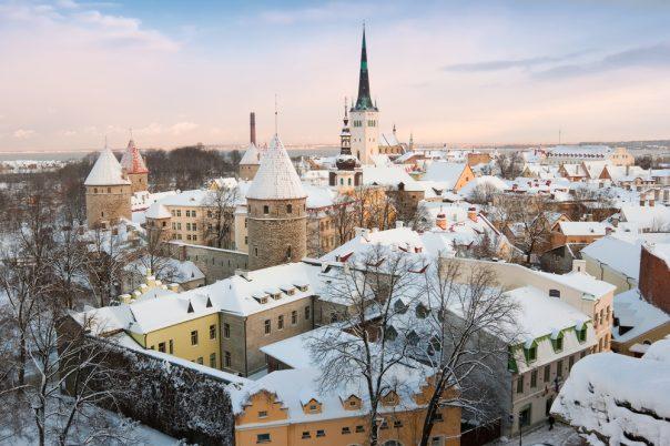 The Christmas Holidays in Estonia. Old city. Tallinn, Estonia