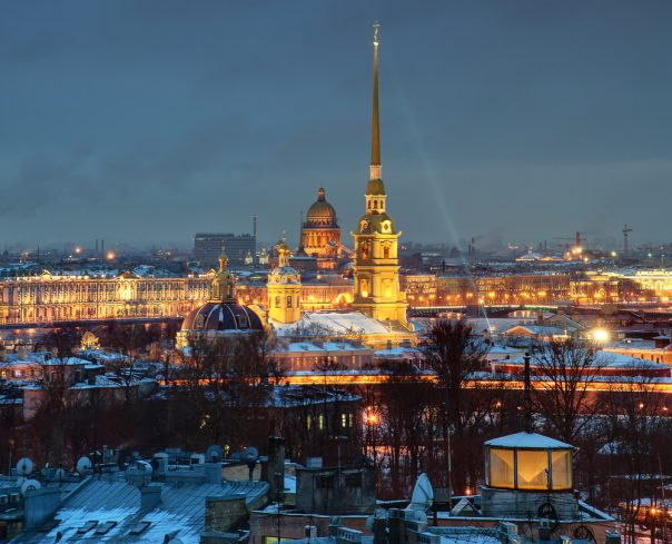Peter and Paul Fortress. St. Petersburg, Russia. The Russian Federation, St. Petersburg, a top view of the city at night, and the Peter and Paul Fortress.