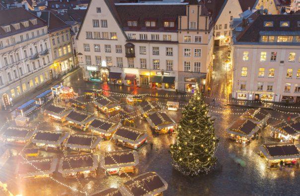 The Christmas Holidays in Estonia. Christmas market in Tallinn, Estonia