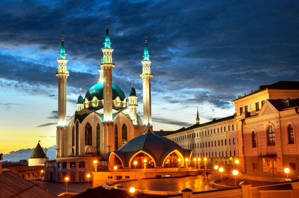 "Why to Use Travel Agency Services When Traveling to Russia. Mosque ""Kul Sharif"" at night in Kazan Kremlin, Tatarstan, Russia"