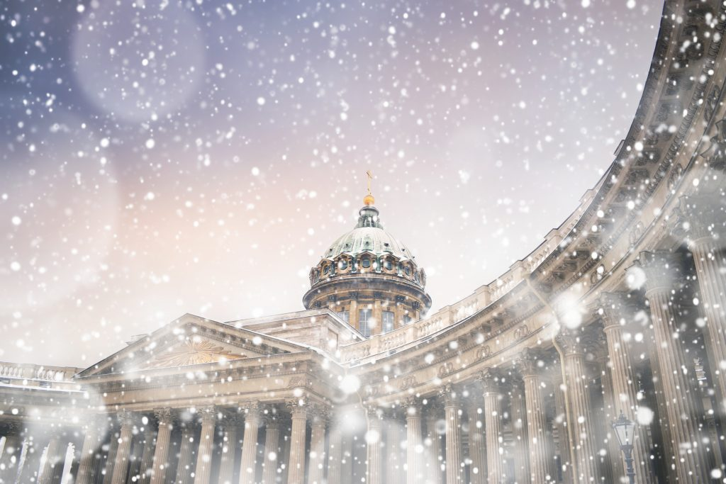 Winter in Saint Petersburg. Kazan cathedral in snowstorm at sunset, St Petersburg, Russia